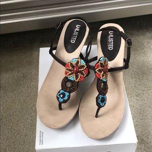 Beaded thong heels